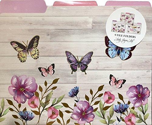 Lady Jayne Gold Foil Decorative Top Tab Letter File Folders ~ 87015 Woodwash Butterflies 9 ct