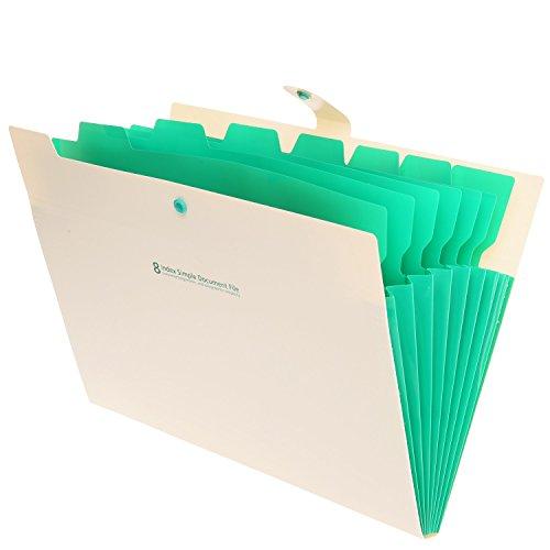 Skydue Portable Accordion Document File Folders Expanding Letter Organizer 8 Pockets Beige