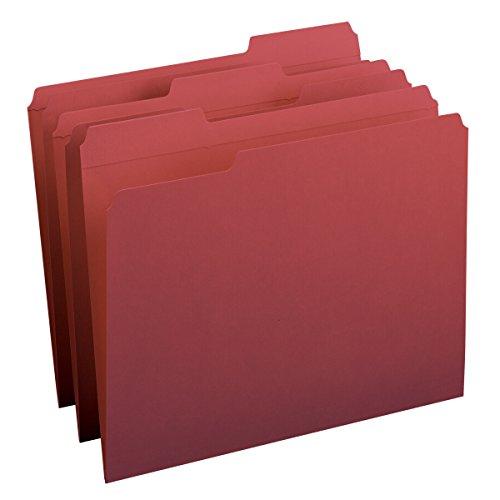 Smead File Folder Reinforced 13-Cut Tab Letter Size Maroon 100 per Box 13084