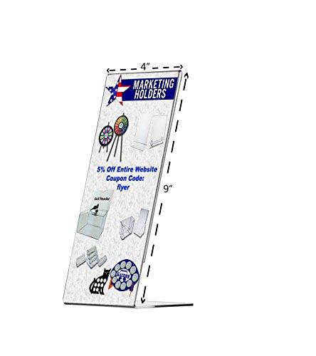 Marketing Holders 4 x 9 Clear Acrylic Side Loading Slant Back Table Tent Brochure Sign Holder