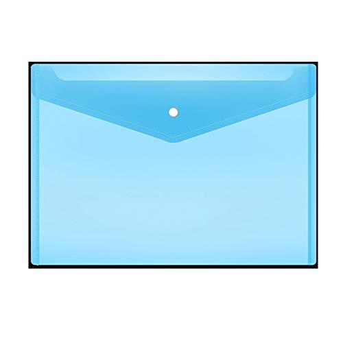 Folder A4 File Bag Plastic Portfolio Bag Snap Bag Student Test Paper Storage Bag Information Bag Office Supplies Large Capacity Text Blue Transparent