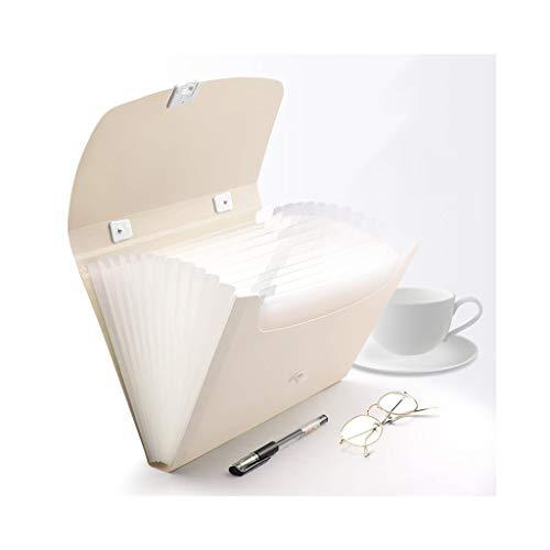 LGQ-SMA Plastic Accordion Extension A4 Folder File Bag Pocket Paper Storage Box Color  Beige