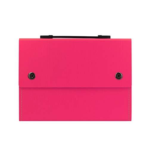 Office A4 Document File Folder 13 Pockets Folder A4 Wallet with Handle Expanding File Organiser Paper Divider Storage Filing Box for Office School Homework Color  Red