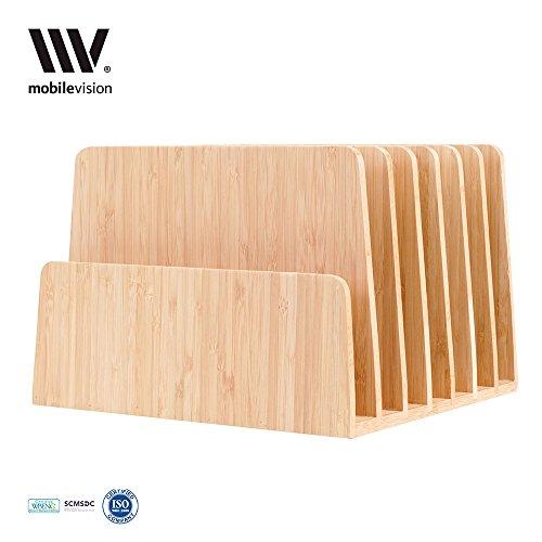 MobileVision Bamboo Desktop File Folder Organizer and Paper Tray 7 Slots