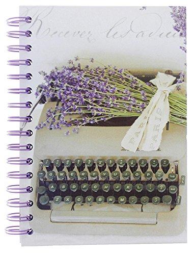 Romantic Lavender Typewriter Hardcover Spiral Notebook - 6 x 9 x 5