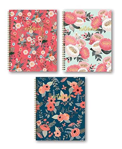 Studio Oh 3-Count Hardcover Spiral Notebook Assortment 85 x 11 Secret Garden Bold Blossoms Trio