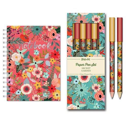 Studio Oh Hardcover Spiral Notebook and Paper Pen Set Secret Garden