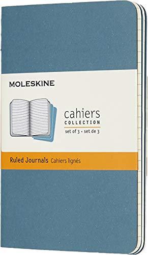 Moleskine Cahier Journal Soft Cover Pocket 35 x 55 RuledLined Brisk Blue Set of 3