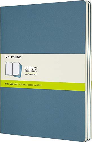 Moleskine Cahier Journal Soft Cover XL 75 x 95 PlainBlank Brisk Blue Set of 3