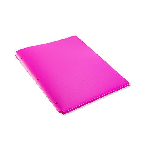 COMIX 2 Pocket Letter Size Poly File Portfolio Folder with 3-Hole Punch - 12 Pack Pink Violet Purple