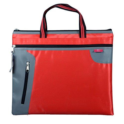 a4 hand canvas zipper file bag office file portfolio double handbag-D