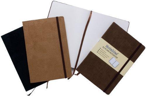 A6 Suede Effect Notables Plain Notebook Sketchbook Jot Pad Black