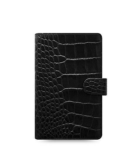 Filofax Classic Croc Print Leather Organizer Agenda Calendar with DiLoro Jot Pad Refill Personal Compact Ebony 2020