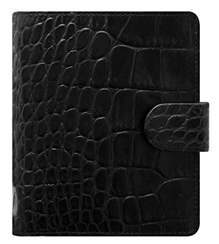 Filofax Classic Croc Print Leather Organizer Agenda Calendar with DiLoro Jot Pad Refill Pocket Ebony 2019-2020