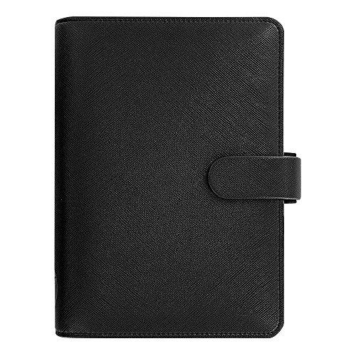 Filofax Saffiano Leather Personal Black Organizer Agenda Diary 2016  2017 Calendar with DiLoro Jot Pad refill 022470