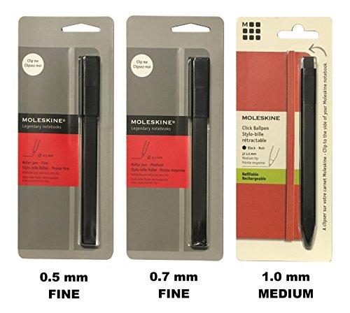 Moleskine 3 Pen Set 05mm 07mm 10mm Clips to Moleskine Notebooks