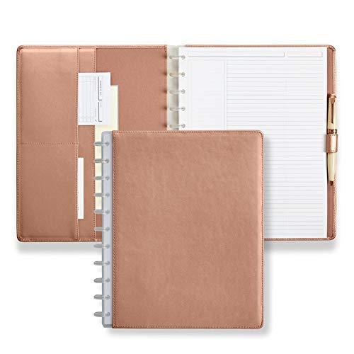 Levenger Circa Rose Gold Leather Foldover Notebook Letter
