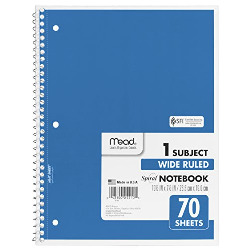 Mead Spiral Notebook 1-Subject 70-Count Wide Ruled Light Blue 05510