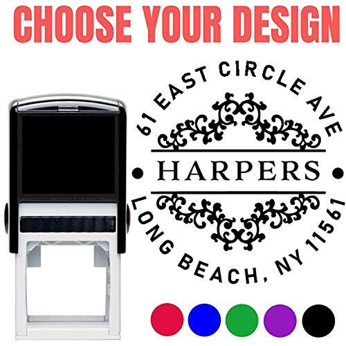 10 Designs to Choose Personalized - Address Stamp - Customized Stamp - Self-Inking Monogram Return Address Mail 3 4 Lines Custom Address Stamper - Wedding Invitation Stamp Design 1