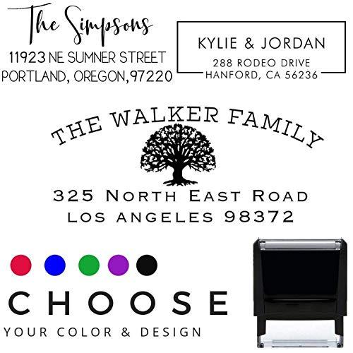 Choose Your Design Return Address Stamp Stamper Self Inking Personalized Customized Stamp Return Address Mail 3 4 Lines Mail Envelopes Black Red Blue Purple Green Ink