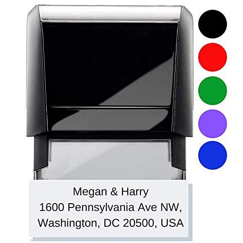 Personalized Address Stamp Black Red Blue Green Ink - Large Font 1 2 3 or 4 line Stamp