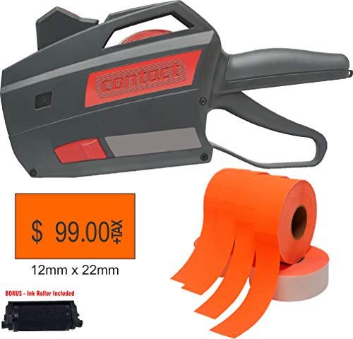 Contact Premium Price Gun with Labels Starter Kit - Includes 1-822 Price Tag Gun 12000 Orange Pricing Gun Labels Bonus Label Gun Ink Roller Included