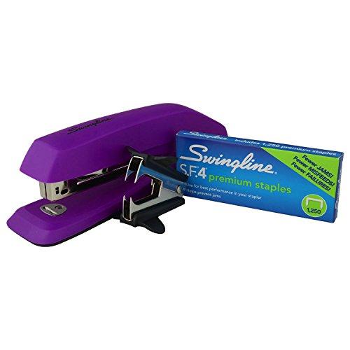 Swingline 3-in-1 Deluxe Desktop Stapler Set Includes 1250 14 SF4 Premium Full Strip Staples and Staple Remover Purple