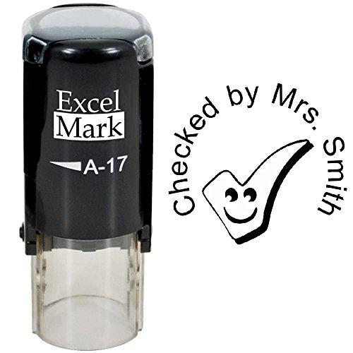 Checked by - ExcelMark Custom Round Self-Inking Teacher Stamp