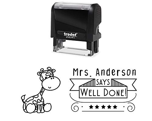 Personal Classroom Teacher Rubber Stamp Self-Inking Well Done Student Stamper with Baby Giraffe Image Variety of Designs 5 Ink Colors 3 Lines All Wording can be Changed