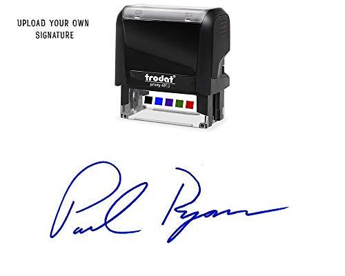 Custom Upload Signature Stamp - Customizable Signature Stamp - Personalized Self-Inking Signature Stamps Blue Ink