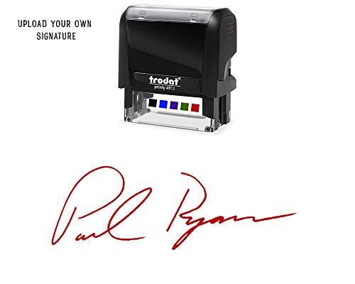 Custom Upload Signature Stamp - Customizable Signature Stamp - Personalized Self-Inking Signature Stamps Red Ink