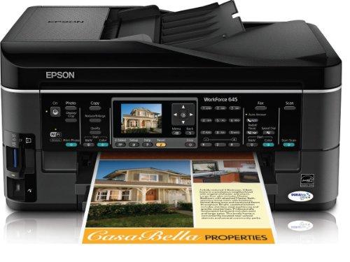Epson WorkForce 645 Wireless All-in-One Color Inkjet Printer Copier Scanner Fax iOSTabletSmartphoneAirPrint Compatible C11CB86201