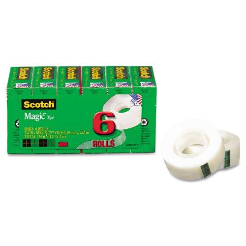 Scotch Magic Tape 34 x 1000 Inch 6 Refill Rolls 810K6