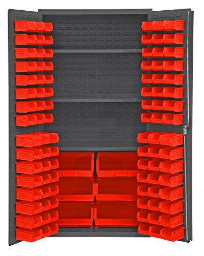 Durham 2501-BDLP-102-3S-1795 Lockable Cabinet with 102 Red Hook-On Bins 3 Adjustable Shelves Flush Door Style 36 Wide 16 Gauge Gray