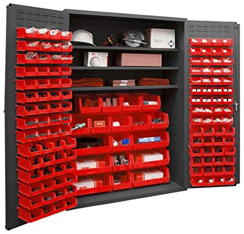 Durham 2502-138-3S-1795 Lockable Cabinet with 138 Red Hook-On Bins 3 Adjustable Shelves Flush Door Style 48 Wide 16 Gauge Gray