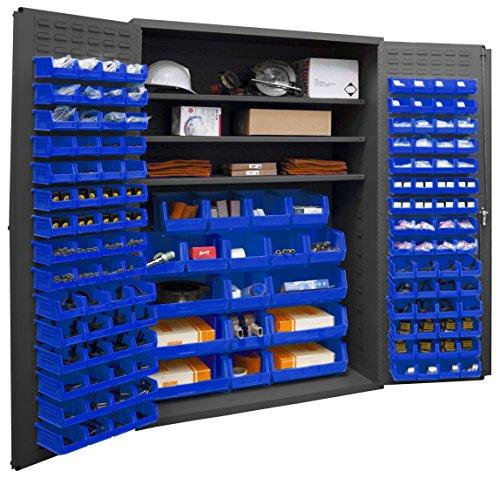 Durham 2502-138-3S-5295 Lockable Cabinet with 138 Blue Hook-On Bins 3 Adjustable Shelves Flush Door Style 48 Wide 16 Gauge Gray