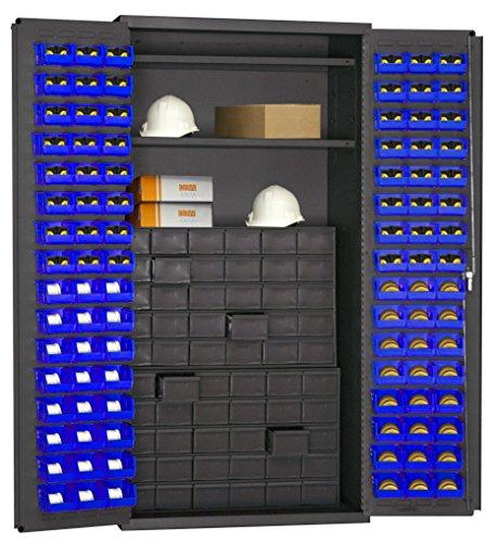 Durham 3501-DLP-60DR11-96-2S5295 Lockable Cabinet with 96 Blue Hook-On Bins 2 Adjustable Shelves Flush Door Style 60 Drawer 36 Wide 14 Gauge Gray