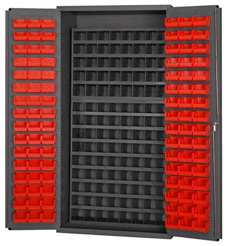 Durham 3501-DLP-7240B-96-1795 Lockable Cabinet with 96 Red Hook-On Bins Flush Door Style 112 Pigeon Hole Bins 36 Wide 14 Gauge Gray