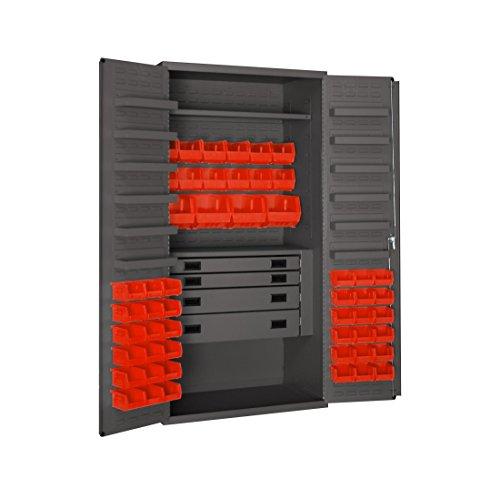 Durham 3501524RDR-1795 Lockable Cabinet with 52 Red Hook-On Bins 1 Fixed Shelf 1 Adjustable Shelf 4 Drawers 12 Door Shelves Flush Door Style 36 Wide 14 Gauge Gray