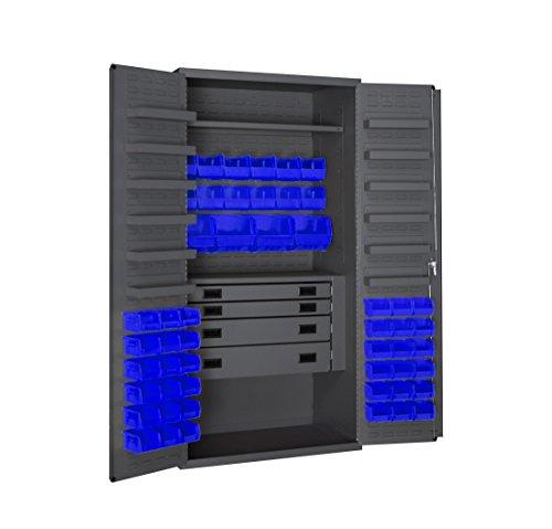 Durham 3501524RDR-5295 Lockable Cabinet with 52 Blue Hook-On Bins 1 Adjustable Shelf Flush Door Style 1 Fixed Shelf 4 Drawers 12 Door Shelves 36 Wide 14 Gauge Gray