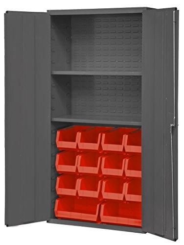 Durham 3602-BLP-14-2S-1795 Lockable Cabinet with 14 Red Hook-On Bins 2 Adjustable Shelves Flush Door Style 36 Wide 14 Gauge Gray