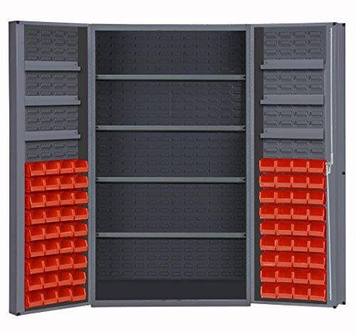 Durham DC48-724S6DS-1795 Lockable Cabinet With 72 Red Hook-On Bins 4 Adjustable Shelves 6 Door Shelves Deep Door Style 48 Wide 14 Gauge Gray