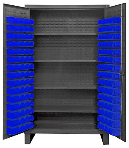 Durham HDC48-120-4S5295 Lockable Cabinet with 120 Blue Hook-On Bins 48 Wide 12 Gauge