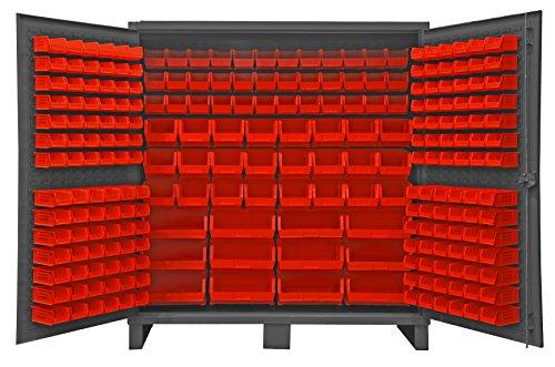 Durham HDC72-240-1795 Lockable Cabinet with 240 Red Hook-On Bins 72 Wide 12 Gauge