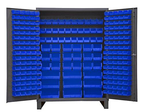 Durham SSC-227-5295 Lockable Cabinet With 227 Blue Hook-On Bins Flush Door Style 60 Wide 14 Gauge Gray