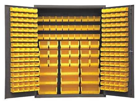 Durham SSC-227-NL-95 Lockable Cabinet With 227 Yellow Hook-On Bins Flush Door Style 60 Wide 14 Gauge Gray