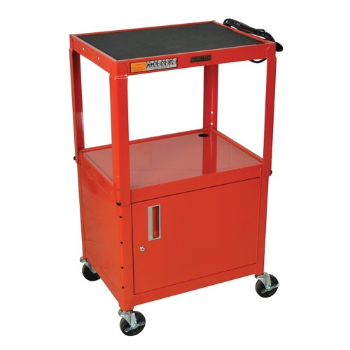 Offex Rolling Height Adjustable Steel AV Storage Utility Cart with Lockable Cabinet and Electric 4-Inch Heavy Duty Casters Red OF-W42ARCE