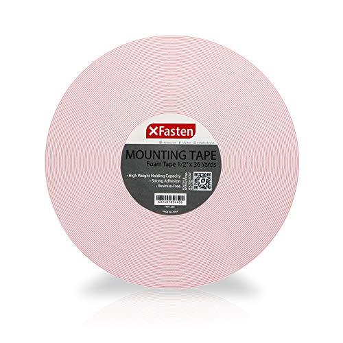 XFasten Double Sided Tape Foam Mounting Tape 12-Inch x 36 Yards