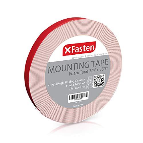 XFasten Double Sided Tape Foam Mounting Tape 34-Inch x 350-Inch