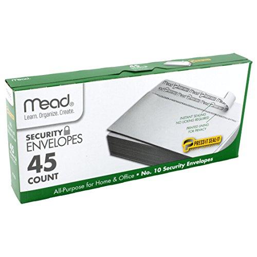 Mead 10 Envelopes Security Press-it Seal-it 4-18 X 9-12 White 45 Per Box 75026